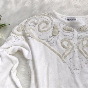 Vintage 80's White Pearl Silver Beaded Sweater